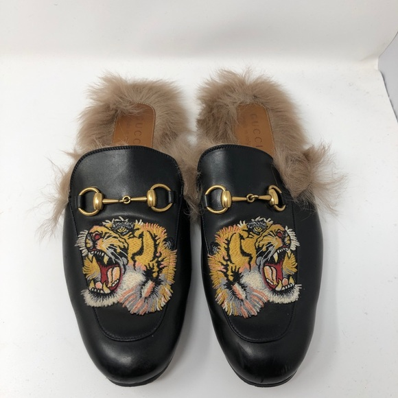 ebcf075c9 Gucci Shoes | Princetown Fur Leather Slippers With Lions | Poshmark